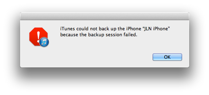 iTunes could not back up the iPhone because the backup session failed.