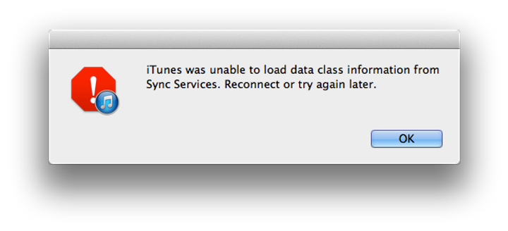 iTunes was unable to load data class information from Sync Services.