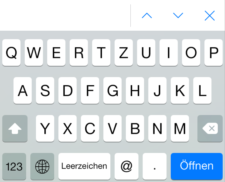 iPhone iOS 7 Tastatur mit E-Mail Layout
